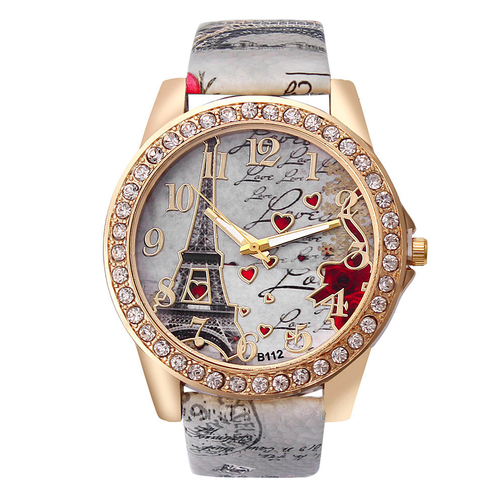 Fashion Vintage Paris Eiffel Tower Watches Luxury Leather Women Quartz Watches Womens Girls Ladies Casual Creative Wristwatches