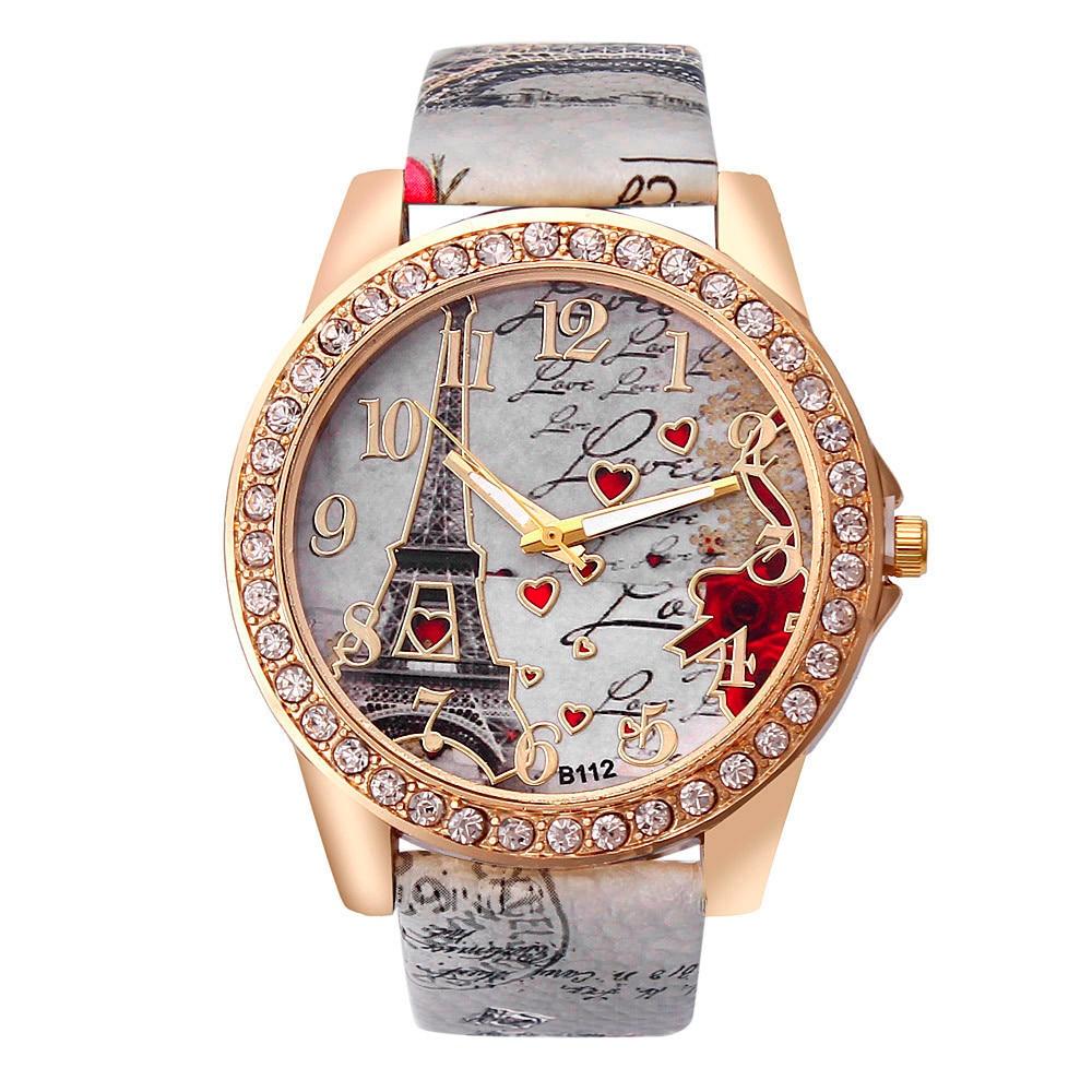 Fashion Vintage Paris Eiffel Tower Watches Luxury Leather Women Quartz Watches Womens Girls Ladies Casual Creative Wristwatches