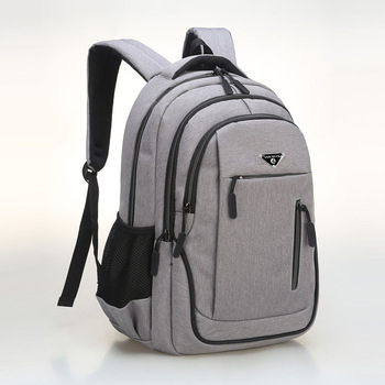 Big Capacity Men Backpack Laptop 15.6 Oxford Gray Solid High School Bags Teen College Student Back Pack Multifunctional Bagpack - Gray
