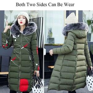 Image 5 - Com capuz ambos os lados usam casacos longos feminino 2020 casual grosso com pele de algodão acolchoado parkas inverno outwear oversize jaqueta feminina