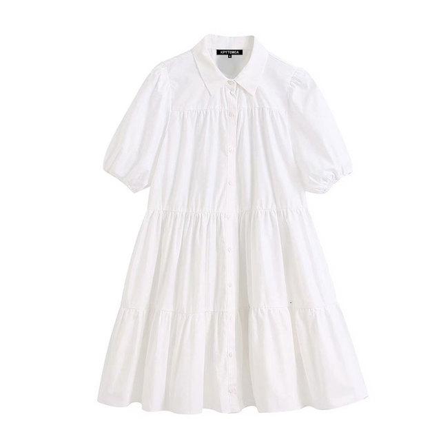 High Quality Women 2020 Sweet Fashion Ruffled White Mini Dress Vintage Lapel Collar Puff Sleeve Female Dresses Chic Vestidos 1