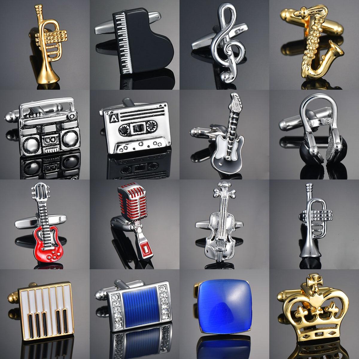 Guitar/Music Note/Recorder/Microphone/Trumpet Cufflinks Music Design Musical Note Cuff Links Piano Bass Cuffs Gemelos Bouton Man