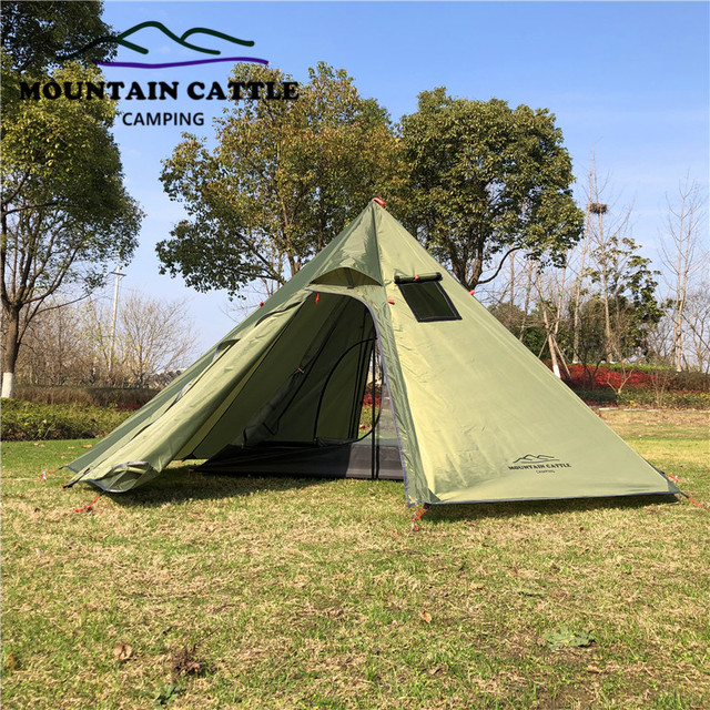 3-4 Person Ultralight Outdoor Camping Big Pyramid Tent Awnings Shelter with Chimney Hole for Bird watching Cooking 3