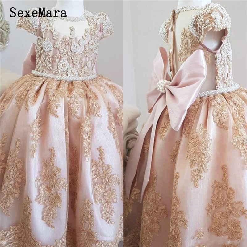 Luxurious Pearls Lace   Flower     Girl     Dresses   Little   Girl   Clother Vintage Baby   Girl   Birthday Gown Pageant   Dresses   with Bow