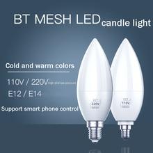 цена на New Smart Bluetooth Candle Light E14 E12 Led Smart Candle Light 220V 110V Voltage Small Tip Bubble 4W Controlled By Smart Phone
