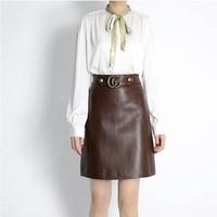 Women Short Skirt 100% Natural Sheepskin Genuine Leather 2020 Fashion Female Short Design A Real Slim Hip Skirt H65