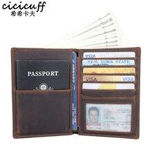 ปกหนังสือเดินทางหนังแท้Multi Functionใบรับรองกระเป๋ากระเป๋าเดินทางUnisexการ์ดกระเป๋าสตางค์ผู้ถือบัตรCrazy Horseหนัง