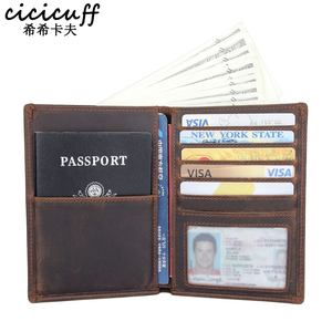 Image 1 - Passport Cover Genuine Leather Multi function Certificate Bag Travel Wallet Unisex Cards Purse Ticket Holder Crazy Horse Leather