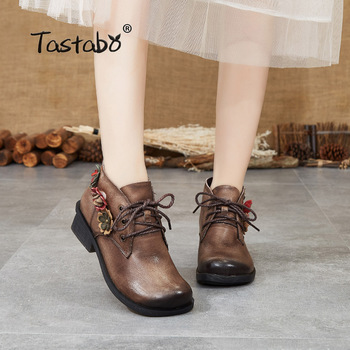 Tastabo Genuine Leather ladies Bare boots Vintage ethnic style Women's boots Brown Gray S88202 Non-slip Comfortable Flat bottom