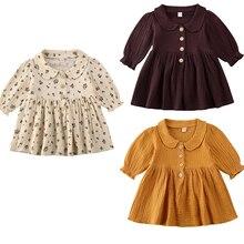 0-4Y Vintage niño pequeño bebé chico vestido de flores de manga larga volantes una línea vestido para niñas otoño primavera disfraces