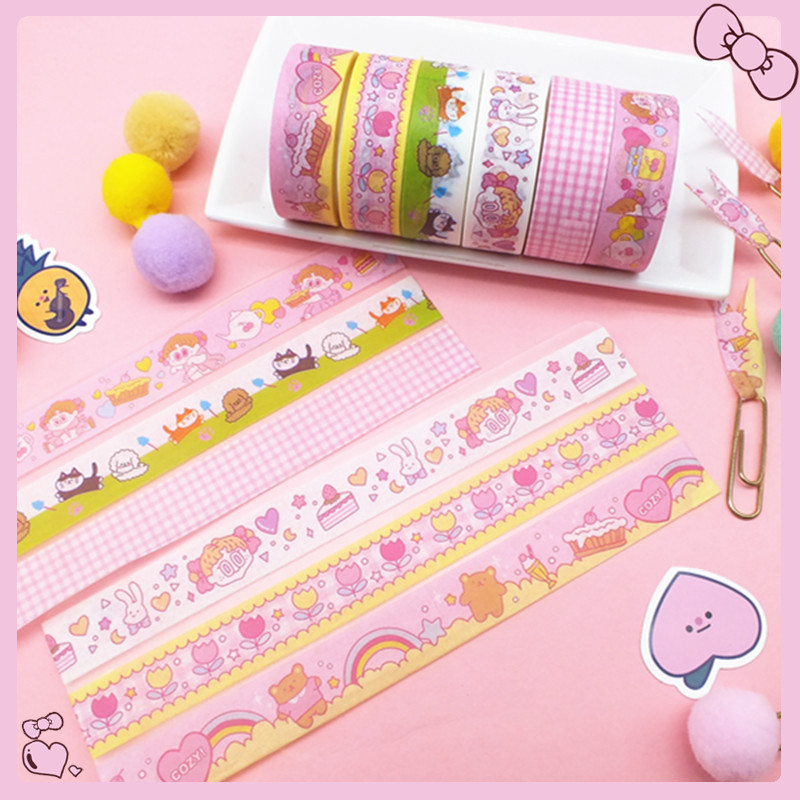 Adhesive-Tape Masking Decorative Flower Korean Girl Kawaii Stationery Pink For Diary