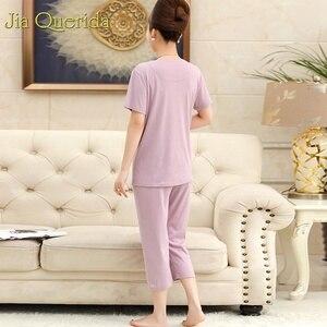 Image 4 - Loungewear 여성 여름 홈 반바지 우아한 레이스 Applique 칼라 플러스 사이즈 여성 잠옷 라벤더 컬러 파자마 반바지 여자