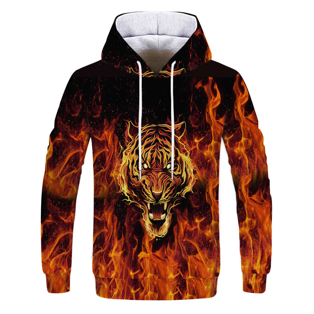 Autumn Flame hoodie  tiger dragon 3D Printed Men sweatshirt casual Harajuku Pullover funny animal streetwear Quality hoodies Top