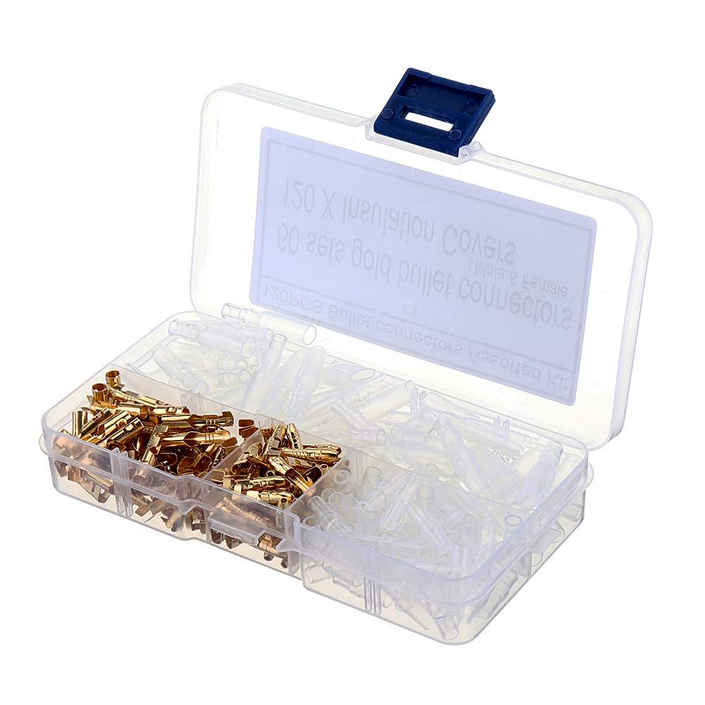 120 Pcs Brass 3.5mm Bullet Connector Terminal Male /& Female with Insulation Cover 3.5mm Wire Connection Terminal with Insulation Cover