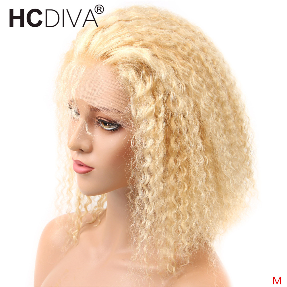 613 Blonde Lace Front Wig Transparent Lace Short Bob Wig Brazilian Kinky Curly Lace Front Wig Remy Human Hair Wigs For Women