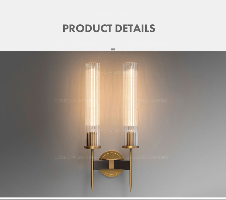 H84334dcb4f8840a482c9a401c382d5762 - Antique brass wall lamp glass cylinder shade home indoor decorative wall lights in bedroom bedside wall mounted sconce interior
