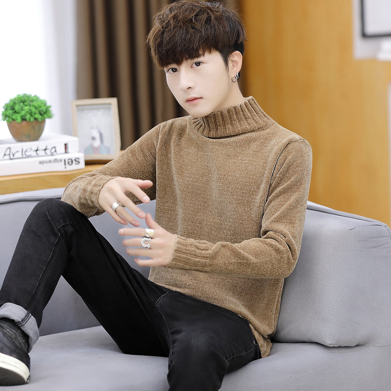 2019 Turtleneck Sweater Men Wool Pullover Mens Sweaters Stripe Turtle Neck Male Jumper Casual Thermal High Quality Knit Sweter