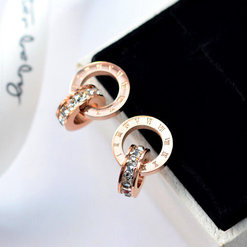 YUNRUO Cubic Zirconia Roman Number Earring Titanium Steel Rose Gold - Fashion Jewelry - Photo 3