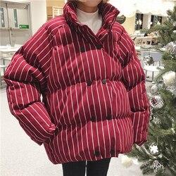 2019 mujeres de invierno grueso cuello de pie rayado de gran tamaño suelto doble pecho corto Chaqueta de algodón abrigos femeninos súper gruesos