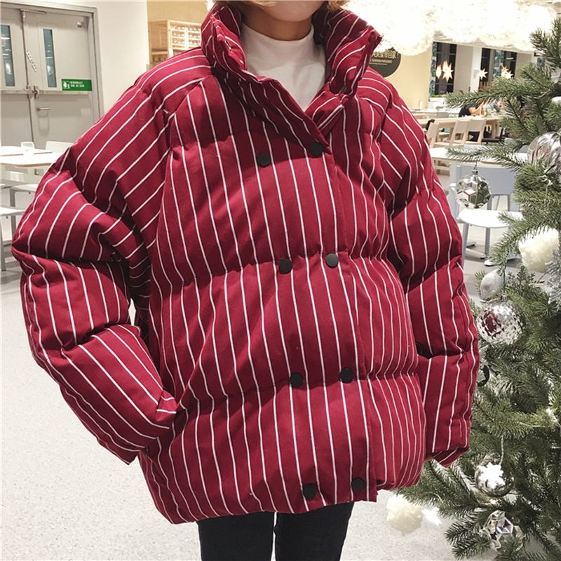 2019 Women's Winter Thick Stand Collar Striped Big Size Loose Double Breasted Short Cotton Coat Jackets Female Super Thick Coats
