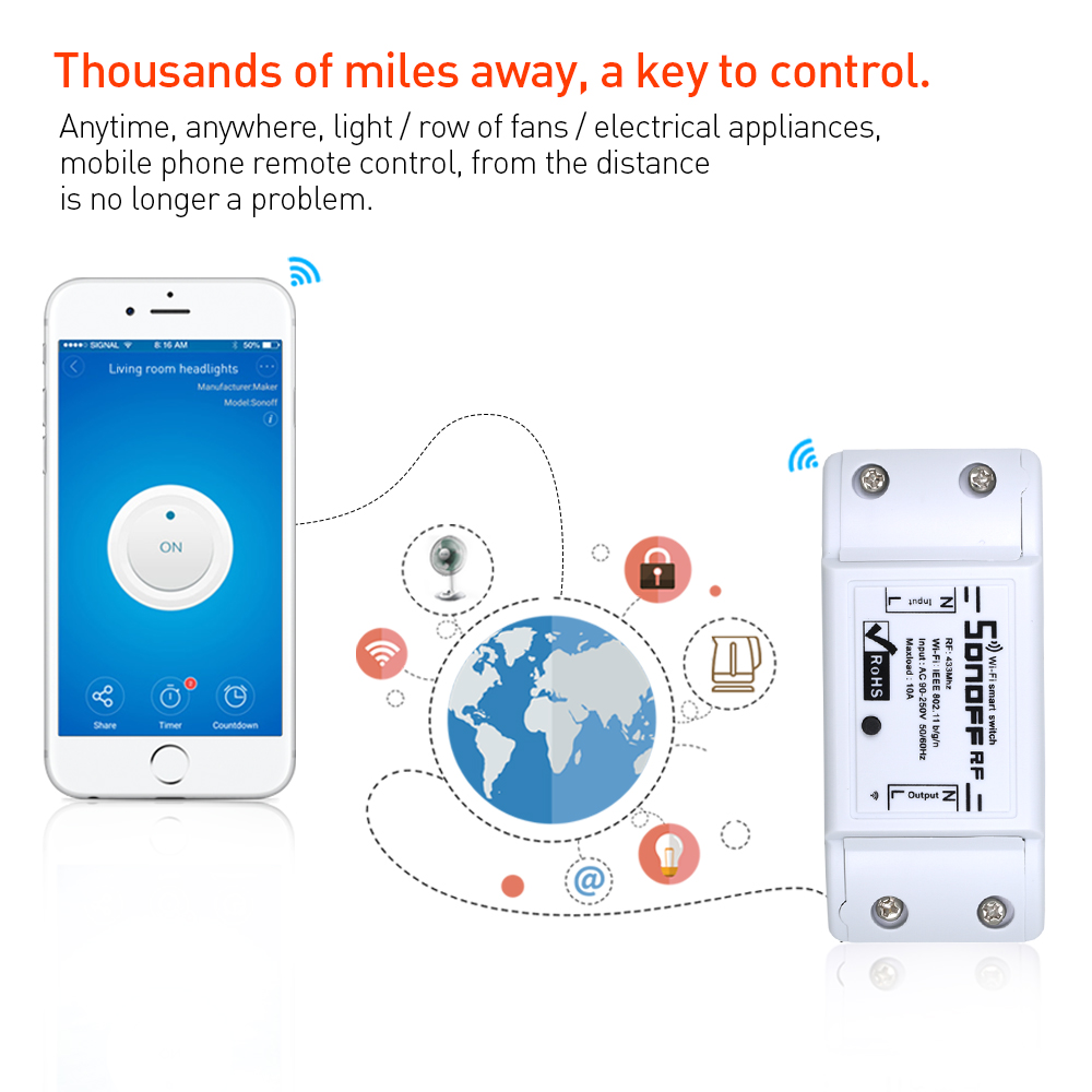 Sonoff RF WIFI Light Switch Smart Home Remote Control 433MHZ Controller Sonoff Basic