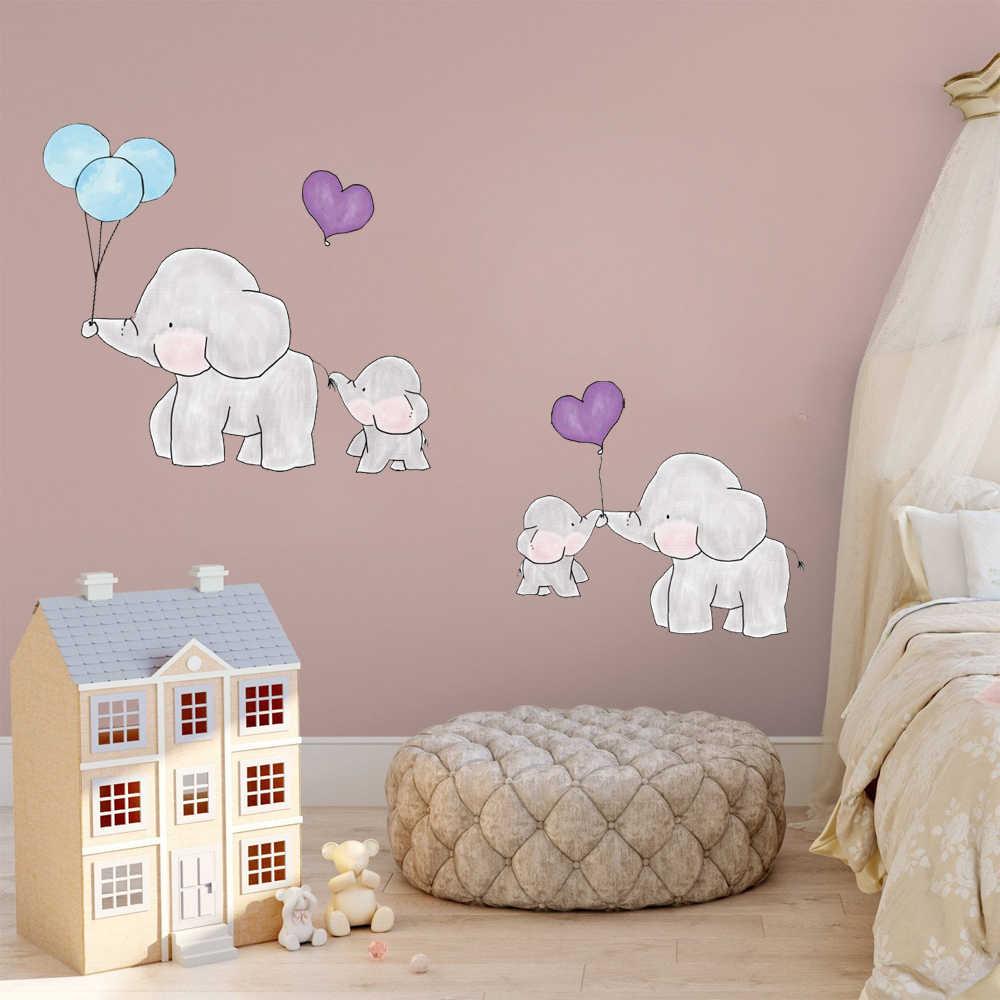 Cartoon Elephant Dots Balloon Wall Stickers Animal Kids Room