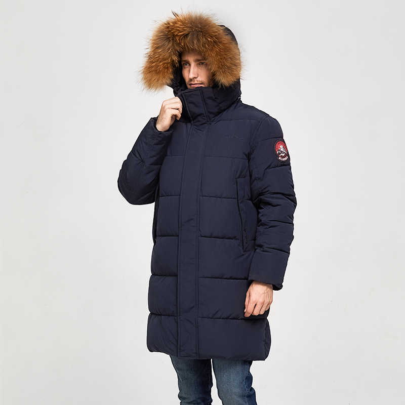 TIGER KRAFT Männer Parka Winter Jacke Männer Lange Alaska Jacke Mantel Waschbär Pelz Haube Winter Männlichen Jacke Dicke Wasserdichte Outwear