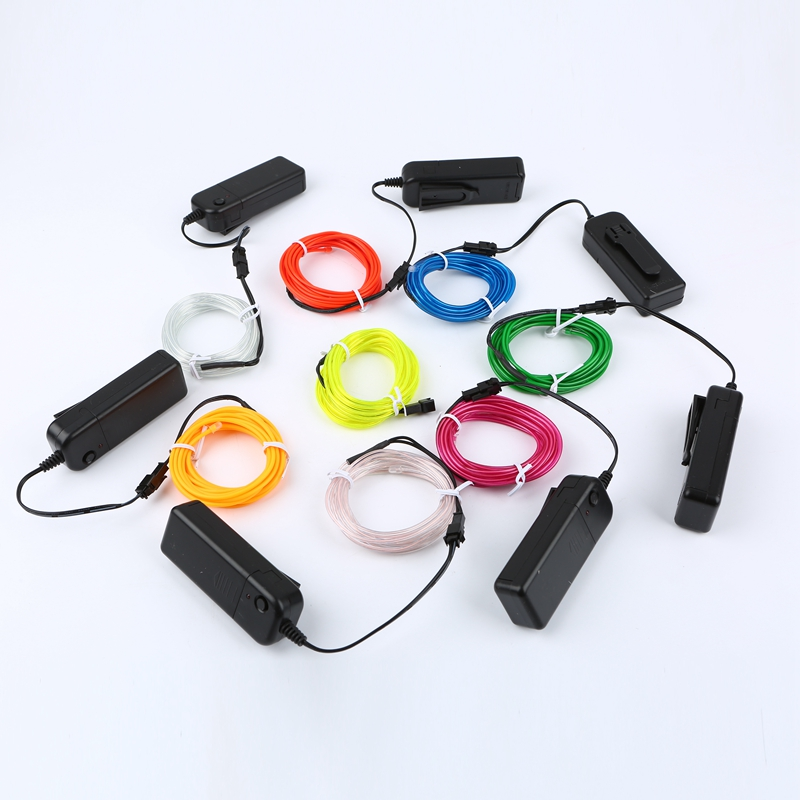 1m 3m 5m 3V Flexible Neon Light Glow EL Wire Battery Powered Rope Tape Cable Strip LED Neon Sign For Shoes Clothing Waterproof