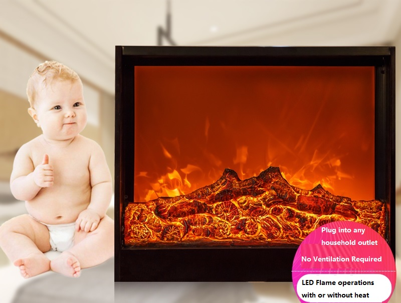 Electric LED Square Fireplace Insert With Wood Log Embers / 2 Stage Heat 750,1500W