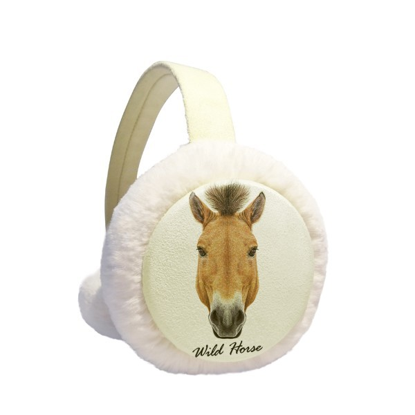 Brown Strong Wild Horse Animal Winter Earmuffs Ear Warmers Faux Fur Foldable Plush Outdoor Gift