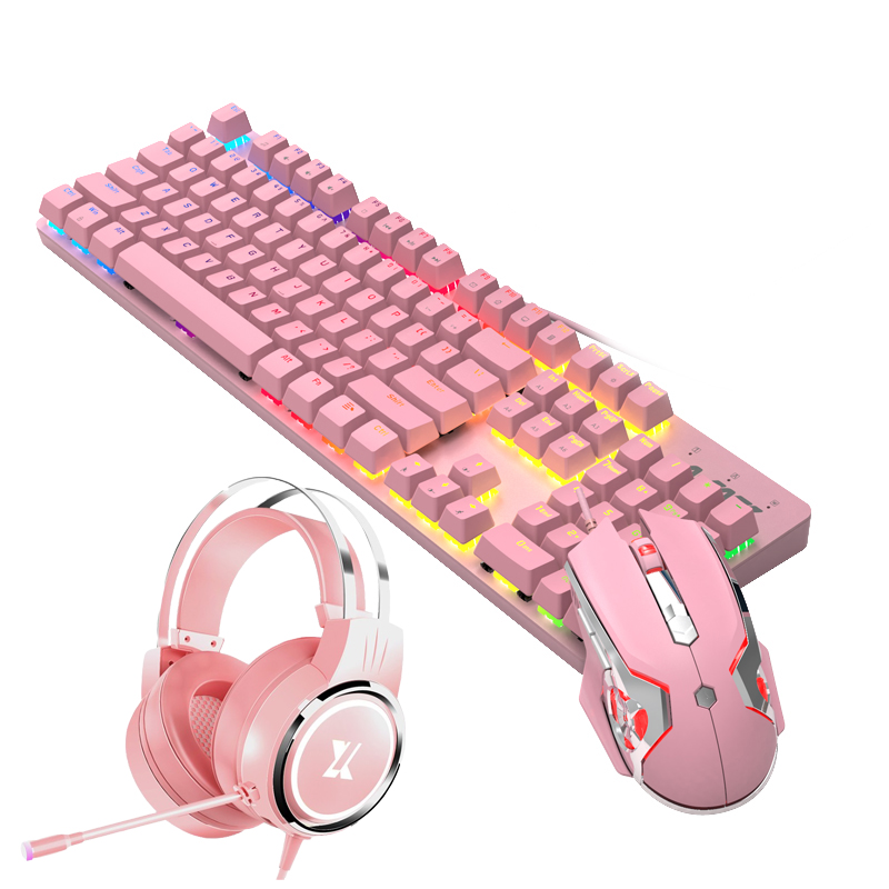 Pink Real Mechanical Keyboard and Mouse Set with Blue Switch Cute Girls E-sports Gamer Computer Peripherals Keyboard