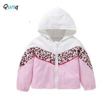 Qunq для девочек свитшот с капюшоном и застежкой молнией; Модные