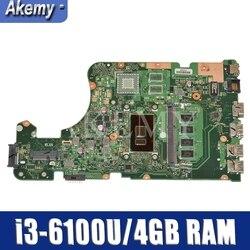 AKEMY X555UA oryginalne płyty głównej płyta główna dla For Asus X555UJ X555UF X555UQ X555UB X555U F555U A555U K555U i3-6100U 4GB pamięci RAM płyta główna płyta główna laptopa