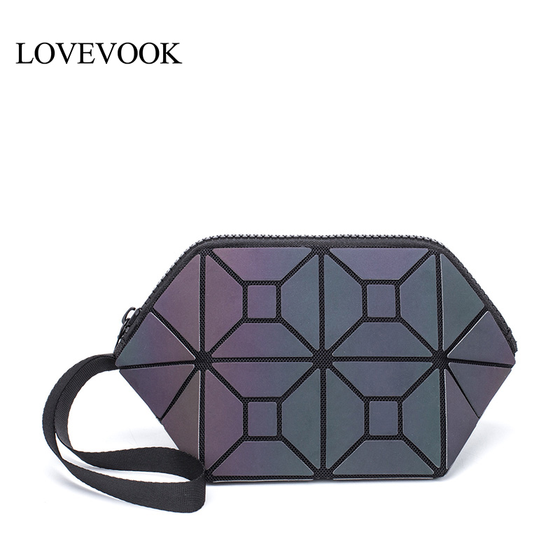 LOVEVOOK Women Makeup Bags PU Leather Small Clutch Female With Short Strap Cosmetic Bag For Travel Geometric Bag Luminous Color