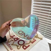 Summer Transparent Jelly Women Bag 2021 New Fashion Women's Laser Heart Chain Bag Shoulder Messenger Bag