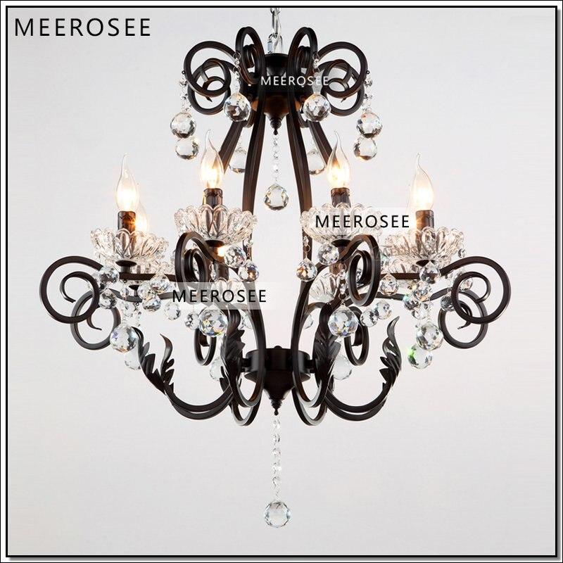 Винтажная черная хрустальная люстра, светильник, Кристальное декоративное внутреннее освещение, американский стиль, подвесной блеск, ламп