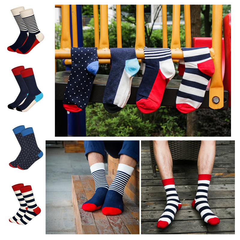 Men&Women Crew Socken British Style Striped StreetWear Cotton Funny Neutral Socks Chaussette Homme