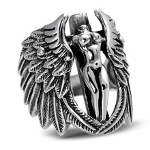 925 silver retro Thai trend personality headless guardian angel wings feather man ring