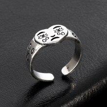 Cor de prata simples rosto chorando anel feminino humor triste boho anéis para as mulheres amor coração casamento noivado anéis moda jóias