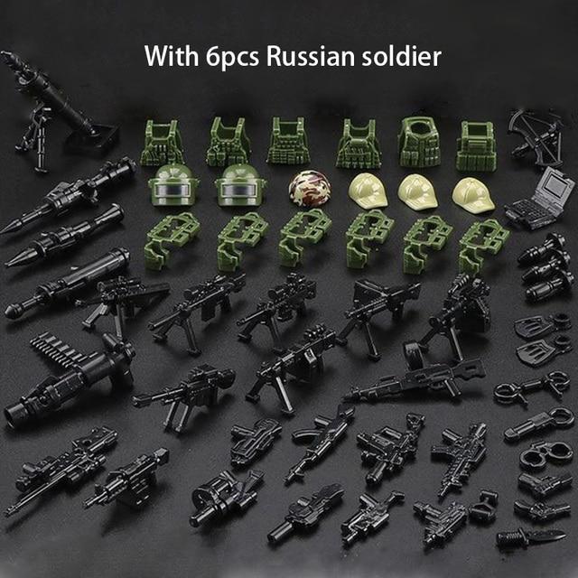 Figuras de bloques de construcción de soldado de camuflaje de la fuerza SWAT, bloques de construcción militares, figuras de bloques, regalo, 6 uds.