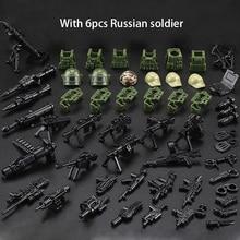 Mini tijolos militares, 6 peças de figuras de tijolos, força russa, swat, exército, camuflagem, soldado, blocos de construção, brinquedos para presente