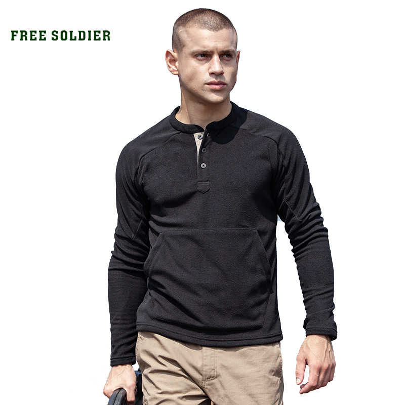 FREE SOLDIER outdoor catching fleece men's autumn and winter sports thick coat fleece plus velvet warm  bottoming shirt