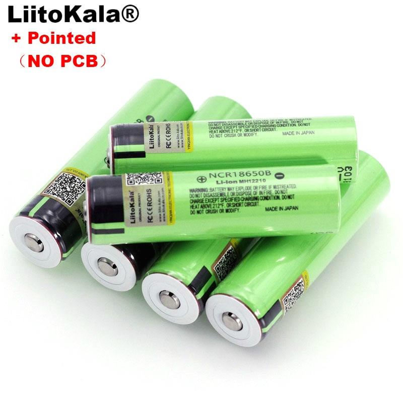 Liitokala-Pilas recargables de litio de 3400 mAh con polos, baterías recargables de 3,7V, 3400 mah de capacidad, nuevas, NCR18650B