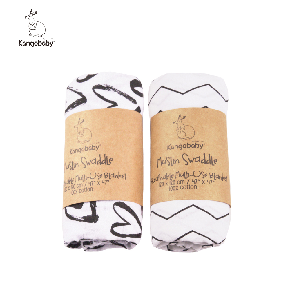 2 Pieces/pack  Muslin 100% Cotton Baby Swaddles Soft Newborn Blankets Black White Gauze Infant Wrap