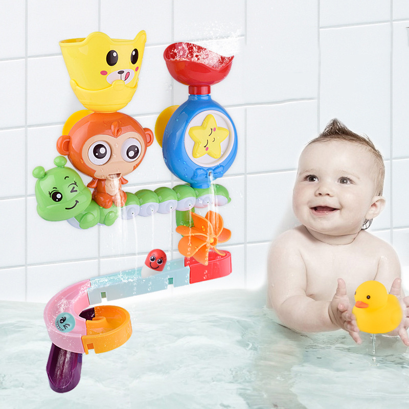 DIY Baby Bath Toys Suction Cup Track Water Games Toys Cartoon Monkey Classic Shower Water Toy Bathroom Swimming Kid Toys