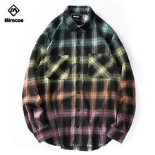 Mirecoo Men Shirt Gradient Plaid Shirts Harajuku Patchwork Casual Hip Hop Long Sleeve Mens Streetwear Tops Clothes
