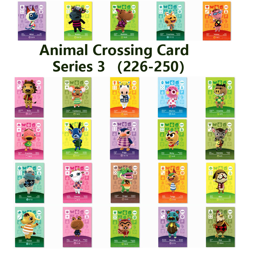Series 3 (226 To 250) Animal Crossing Card Amiibo Locks Nfc Card Work For NS Games Series 3 (226 To 250