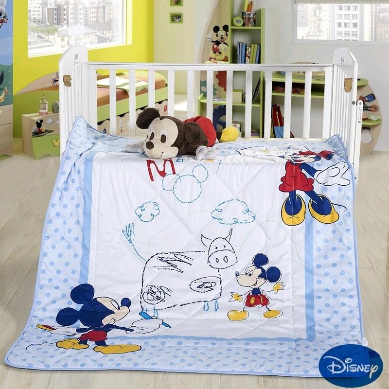 Disney Mickey Mouse Draw Animals Baby Summer Quilt 120x150CM Kindergarten Holiday Blanket Girls Boys Kids Crib Bed Gift