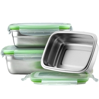 TOP! 304 Stainless Steel Lunch Box Eco Friendly Portable Food Storage Container Refrigerator Multipurpose Leakproof Crisper Box|Lunch Boxes|   -