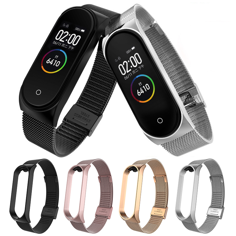 For Xiaomi Mi Band 3 4 Metal Strap Wristband Stainless Steel Buckle Replacement Strap Smart Watch Bracelet Accessorie